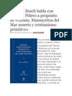 Mª José Bosch Habla Con Antonio Piñero a Propósito de Gnosis, Manuscritos Del Mar Muerto y Cristianismo Primitivo