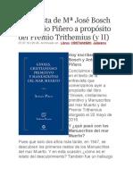 Entrevista de Mª José Bosch a Antonio Piñero a Propósito Del Premio Trithemius