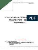 Especificaciones Tecnicas de Arquitectura - Cerco Perimetrico