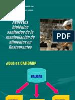 Aspectos Sanitarios Manipulación Alimentos Restaurantes