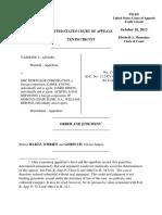Adams v. EMC Mortgage Corporation, 10th Cir. (2013)