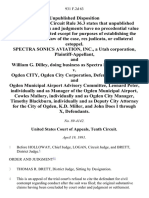Spectra Sonics Aviation, Inc., a Utah Corporation, and William G. Dilley, Doing Business as Spectra Sonics v. Ogden City, Ogden City Corporation, and Ogden Municipal Airport Advisory Committee, Leonard Peter, Individually and as Manager of the Ogden Municipal Airport, Cowles Mallory, Individually and as Ogden City Manager, Timothy Blackburn, Individually and as Deputy City Attorney for the City of Ogden, K.D. Miller, and John Does I Through X, 931 F.2d 63, 10th Cir. (1991)