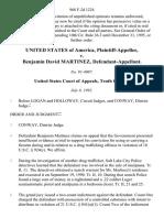 United States v. Benjamin David Martinez, 968 F.2d 1224, 10th Cir. (1992)