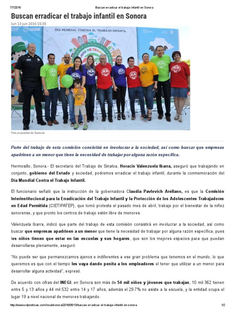 13 06 16 Buscan Erradicar El Trabajo Infantil En Sonora Sdpnoticias