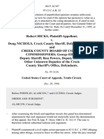Robert Hicks v. Doug Nichols, Creek County Sheriff, and Creek County Board of County Commissioners George Elliott, Deputy Sheriff Ron Powers, Deputy Sheriff Other Unknown Deputies of the Creek County Sheriff's Office, 104 F.3d 367, 10th Cir. (1996)