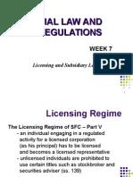 Licensing and Subsidiary Legislation