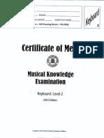 Musical Examination 2003