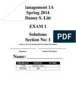 Accounting 1A Exam 1 - Spring 2014 - Section 1 - Solutions