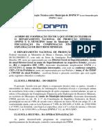 Termo de Cooperacao Tecnica Entre Dnpm e Municipios