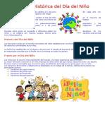 Reseña Histórica Del Día Del Niño