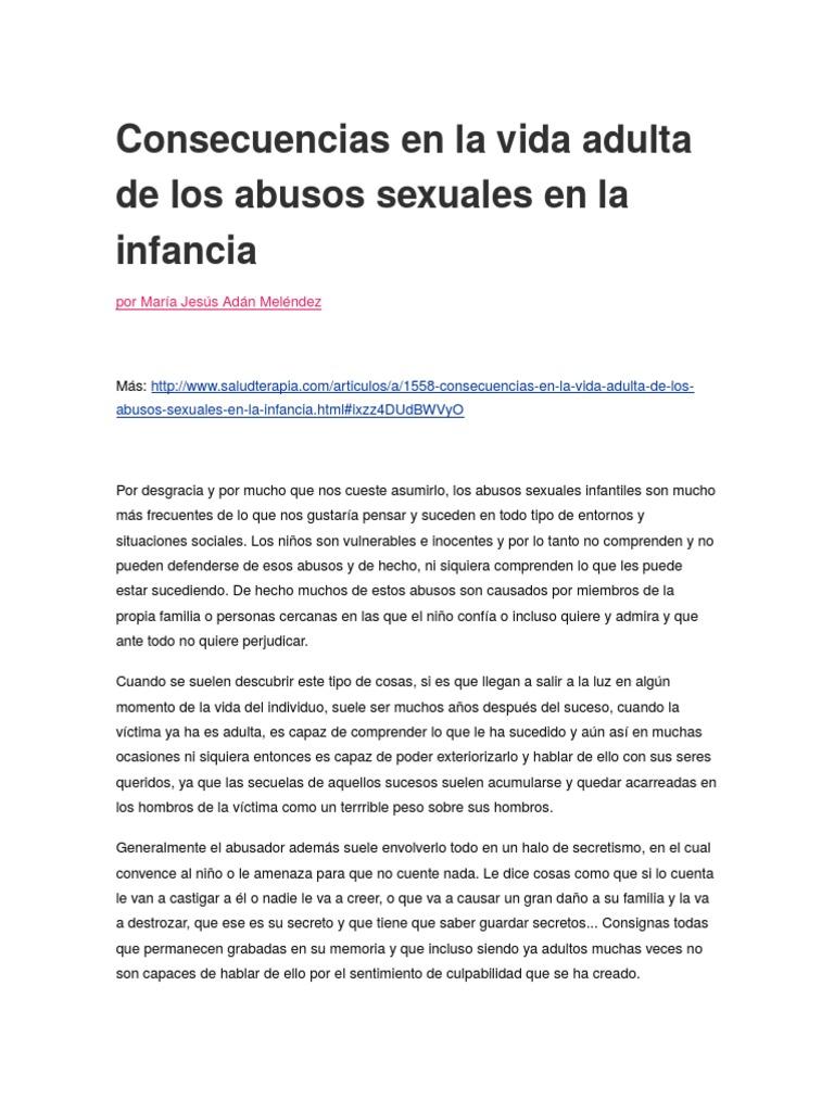 Las Consecuencias Del Abuso Sexual Infantil