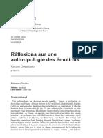 Réflexions sur une anthropologie des émotions