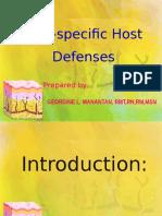 1. Non-specific Host Defenses