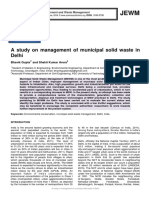 A study on management of municipal solid waste in Delhi