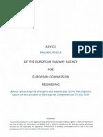 Informe da Axencia Ferroviaria Europea sobre o accidente de Angrois