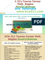 HCA 311 Course Career Path Begins Hca311dotcom