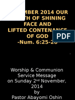 Shining Face and Lifted Contenance of God