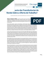 Qual é o impacto das transferências de renda sobre a oferta de trabalho?