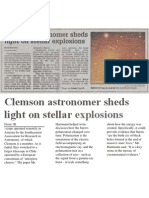 Clemson astronomer sheds light on stellar explosions, Nov. 13, 2003