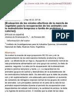 [Evaluación de los niveles efectivos de la mezcla de vegetales para la recuperación de los animales con la malnutrición temprana o tardía de proteínas y calorías]