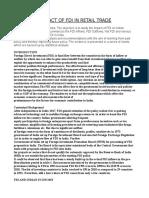 The Impact of FDI