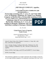 Oklahoma Beverage Company v. Dr. Pepper Love Bottling Company (Of Muskogee), a Partnership Consisting of K. C. Love, Sr. And Violet Mills Love, of Muskogee, Oklahoma, Dr. Pepper Love Bottling Company (Of Bartlesville), a Partnership Consisting of John H. Love, Delia Love, and Kenneth Love, of Bartlesville, Oklahoma, John H. Love, an Individual Residing in Bartlesville, Oklahoma, K. C. Love, Sr., an Individual Residing in Muskogee, Oklahoma, and Violet Mills Love, an Individual Residing in Muskogee, Oklahoma, 565 F.2d 629, 10th Cir. (1977)
