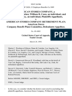 American Stores Company, a Delaware Corporation William B. Coon, an Individual and John P. Stransky, an Individual v. American Stores Company Retirement Plan American Stores Company Benefit Plans Committee, 928 F.2d 986, 10th Cir. (1991)