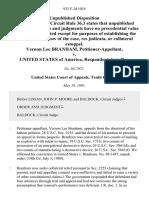 Vernon Lee Branham v. United States, 933 F.2d 1019, 10th Cir. (1991)