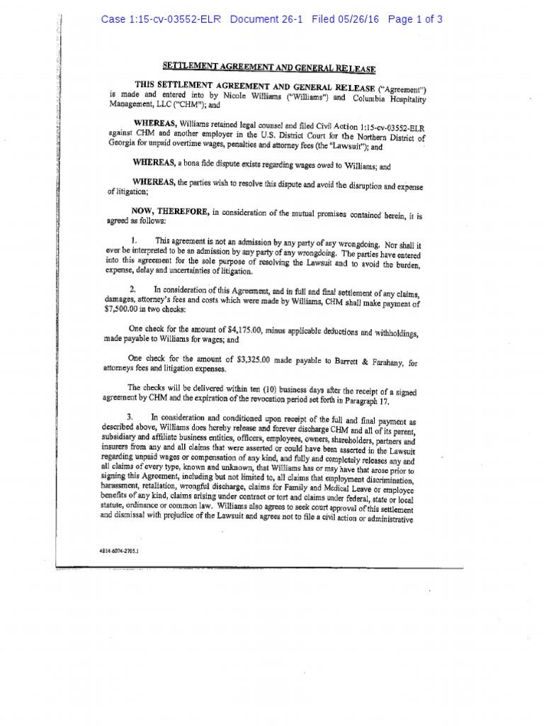052616 Williams V Mbd Settlement Agreement Settlement