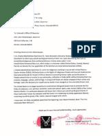Chaska Eil's Declaration Sent to the Governor of Colorado