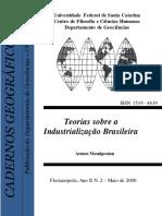 Cadernos Geográficos UFSC Nº 02 Teorias Sobra a Industrialização Brasileira . Maio de 2000