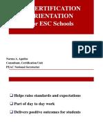 Certification for ESC Schools