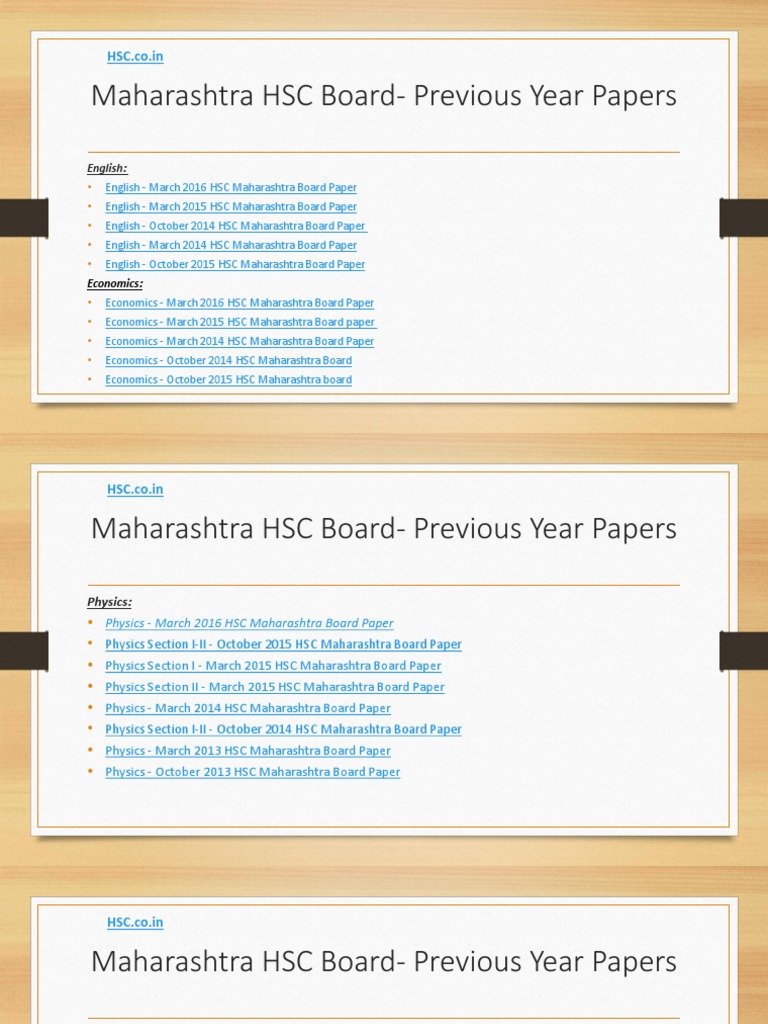 Maharashtra HSC Board- Previous Year Papers | Personal Growth