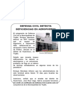 Defensa Civil Detecta Deficiencias en Aeropuerto