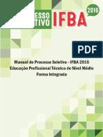 Manual Tecnico Integrado - Processo Seletivo Ifba 2016 - Retificado Em 01-09-2015