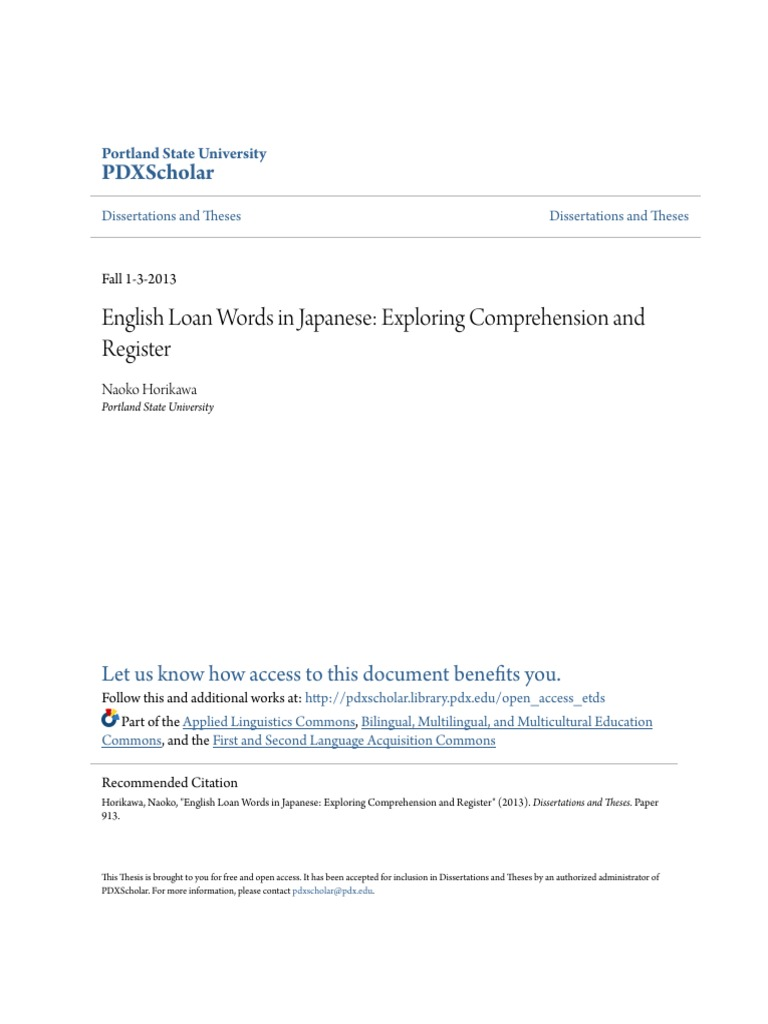 English Loan Words in Japanese- Exploring Comprehension and Regis   Japanese  Writing System   Japanese Language