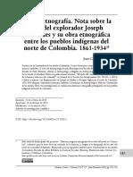 Viaje y etnografía. Nota sobre la  vida del explorador Joseph  de Brettes y su obra etnográfica  entre los pueblos indígenas del  norte de Colombia. 1861-1934
