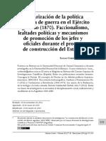 Militarización de la política  y política de guerra en el Ejército  argentino (1870).