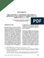 DOCUMENTO  RELACIÓN DE LA CIUDAD DE CARTAGENA Y  PROPUESTA PARA CREAR UN VIRREINATO CON  SEDE EN ELLA, CA. 1650