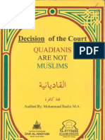 Decison of Court - Qadyanis Are Not Muslims by Muhammad Bashir