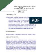 Bases Del Torneo Interclubes Apertura 2016