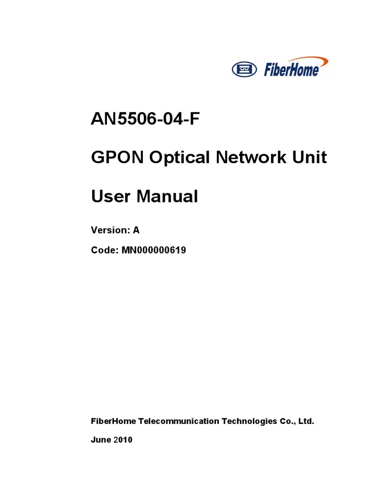 An5506 04 f Gponmanual | Electrical Connector | Telecommunications