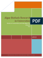 Algae Biofuels Research in Universities
