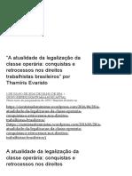 """""""a Atualidade Da Legalização Da Classe Operária_ Conquistas e Retrocessos Nos Direitos Trabalhistas Brasileiros"""" Por Thamíris Evaristo _ Grupo de Pesquisa Trabalho e Capital"""