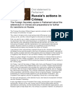 Russia's Actions in Crimea