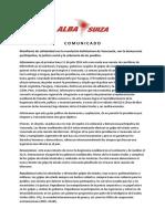 Comunicado Alba Suiza