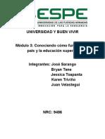 Módulo 3 Conociendo Como Funciona Mi País y La Educacion Superior