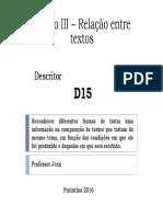 Tópico III – Relação Entre Textos - Descritor 15 - Por Prof. Jean Silva