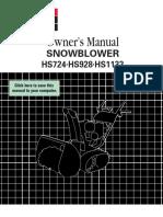 Honda HS928 Snowblower Manual