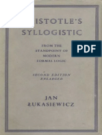 Jan Lukasiewicz-Aristotle's Syllogistic From the Standpoint of Modern Formal Logic, Second Edition (Oxford University Press Academic Monograph Reprints)-Oxford Univ Press (1957)